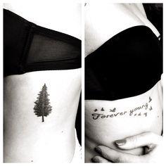 Black&white #tattoo conifer birds tree