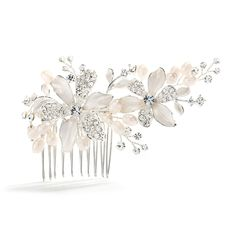 Freshwater Pearl and Crystal Silver Bridal Comb $65