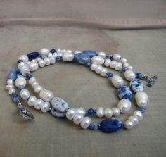 Artisan Art Necklace Gemstone Pearls Aquamarine by HappyEight