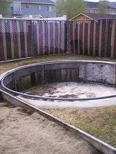 concrete sunken trampoline