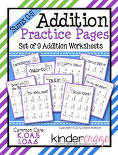 Addition Practice Sums 0-5, $2.50