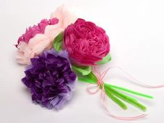 Tissue Paper Flowers  These flowers are quick to make and the children enjoy making them. Younger children may need some help with accordion-pleating the tissue paper.
