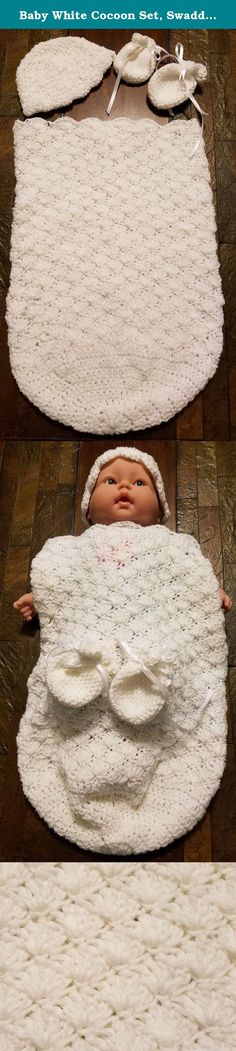 Baby White Cocoon Set, Swaddle Blanket, Crochet Blanket, Crochet Baby Blanket, Receiving Blanket. This is a beautiful handmade corcheted 3-piece set that includes a White Cocoon, hat and mitts. The entire outfit is made with 100% soft acrylic yarn so gentle on baby's skin. This Cocoon set makes a very nice gift for new births or a baby shower gift. The neutral white color makes this the perfect outfit for either boys or girls and works very well for that extra swaddling for baptisms…