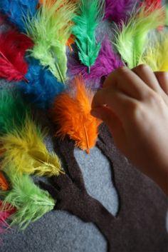 Feathers on the felt board