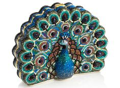Peacock Crystal Clutch: A minaudière with semiprecious sodalite cabochons / Judith Leiber
