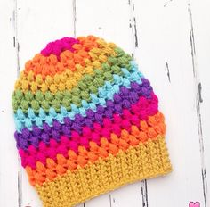 [Free Pattern] How To Easily Use Your Scraps To Make A Wonderful Puff Stitch Toddler Beanie