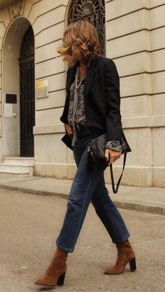 cropped flare jeans, suede boots, blazer