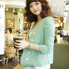 collar-less blazer--love the color!