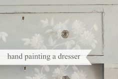 See how Miss Mustard Seed hand paints her most recent dresser makeover...