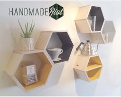 Set of Five Hexagon shelves for Him by HandmadeRiot on Etsy, $150.00