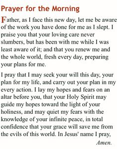 Prayer for Morning Prayer Times, Prayer Scriptures, Bible Prayers, Catholic Prayers, Faith Prayer, God Prayer, Prayer Quotes, Bible Verses Quotes, Faith Quotes