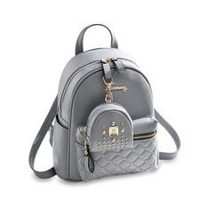847a55e4c Cute Small Backpack Mini Purse Casual Daypacks Leather for Teen Girls and  Women - Gray - C6187Q0HW72