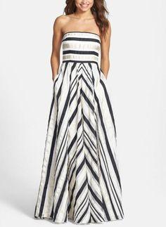 Pretty prom dress | Ribbon stripe strapless dress find more women fashion ideas on www.misspool.com
