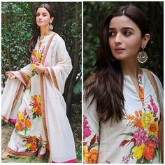 Make Every Ethnic Looks Part Of Your Style In This Season. - Thread of Trends Stylish Dress Designs, Stylish Dresses, Fashion Dresses, Pakistani Dresses, Indian Dresses, Simple Outfits, Simple Dresses, Indian Wear, Indian Style