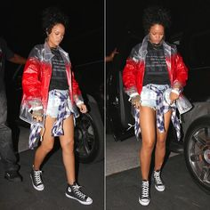 Rihanna wearing Cav Empt jacket, Off-White c/o Virgil Abloh distressed denim shorts, Converse.