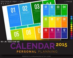 2015 Calendar Year Calendar Personal Planning Kit || Colorful Printable PDF Planner Organizer Binder DIY || Household PDF Printables