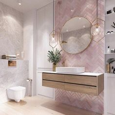 Modernes Badezimmer Modern pink bathroom vanity design, The va Bathroom Vanity Designs, Bathroom Interior Design, Bathroom Mirrors, Bathroom Cabinets, Marble Bathrooms, Bathroom Goals, Pink Bathroom Decor, Boho Bathroom, Bathroom Inspo