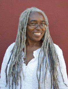 black lady with gray dreadlocks Silver White Hair, Curly Hair Styles, Natural Hair Styles, Long Gray Hair, Black Hair, Ageless Beauty, Going Gray, Dream Hair, Locs