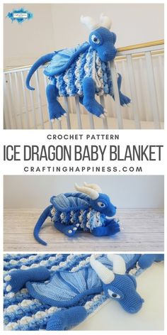 Ice Dragon Baby Blanket - it folds into a toy & can be used as a playmat or decoration for the nursery. Crochet pattern by Crafting Happiness #crochetblankets #crochetafghans #crochetstitches #crochetpatterns #crochetanimals #crochetforchildren #crochetprojects #crochetbaby #babyblankets #icedragoncrochet #dragoncrochet #craftinghappiness #craftinghappinessbabyblanket Crochet Toddler, Cute Crochet, Crochet Crafts, Crochet Projects, Knit Crochet, Crochet For Baby, Crochet Dragon Pattern, Crochet Patterns Amigurumi, Crochet Dolls