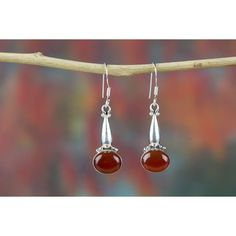 Amazing Red Onyx Silver Earrings Online India via Polyvore featuring jewelry, earrings, red jewellery, onyx earrings, earring jewelry, red jewelry and silver earrings
