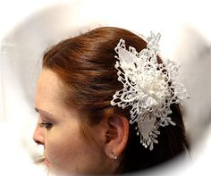 Victorian Bridal Hairpiece White Lace OOAK by Marcellefinery
