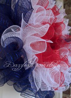 Ruffle Deco Mesh Wreath in Red White and Blue. by DazzleaDoor