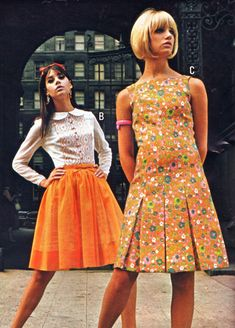 JC Pennys fashions modeled by Colleen Corby and an unidentified model, 1967.