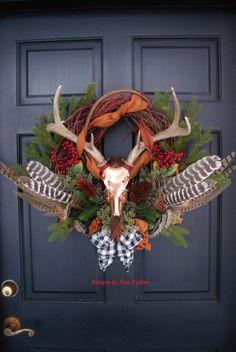 Deer Antler Pheasant and Turkey Feather Elegant Wildlife Wreath
