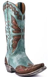 Old Gringo Women's Aqua & Brass Monarca Butterfly Cowgirl Boots — the butterfly on these cowboy boots is a great touch!