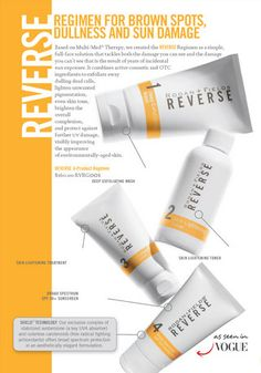 Rodan and Fields reverse regimen. I'm totally obsessed! These are the dermatologist that brought you Proactive, but expanded their talents for women to be able to get through direct sales. Check out their website or a consultant's, like me, where you are able to use the solution tool quiz to see what's the best for your skin type! Here is my website -- www.mknowlesl.myrandf.com