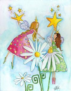 Nursery Art Fairies And Flowers  8x10 Print by bealoo on Etsy, $15.00