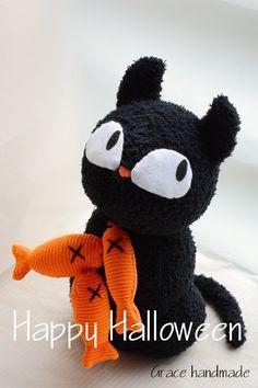 Happy Halloween !! #228 sock black cat (craft DIY)