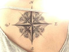 compass rose tattoos in grayscale - beautiful