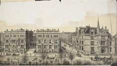 640, 645 & 647 Fifth Ave and Petit Chateau | New York, NY.  Left: twin mansions (aka Triple Palace) residences William H. Vanderbilt built for himself and his two daughters Emily (Mrs. William Douglas Sloane) and Margaret (Mrs. Elliott Fitch Shepard). Right: Petit Chateau built by Vanderbilt's son W. K. Vanderbilt. Petit Chateau demolished in 1926; Marble Twins demolished 1947.