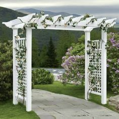 New England Arbors Fairfield Grande Vinyl Pergola Arbor - Bring some classic New England style enchantment to a garden, pathway, or entrance. The New England Arbors Fairfield Grande Vinyl Pergola Arbor. Vinyl Pergola, Pergola Canopy, Wooden Pergola, Outdoor Pergola, Backyard Pergola, Pergola Lighting, Cheap Pergola, Aluminum Pergola, Outdoor Pavilion