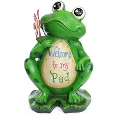 """Alpine 18"""" 'Welcome to My Pad' Frog Statue"""