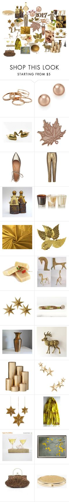 """""""GOLD"""" by talma-vardi ❤ liked on Polyvore featuring Kendra Scott, Bloomingdale's, Sigerson Morrison, Dries Van Noten, Nest Fragrances, JEM, Darice, MCM, LumaBase and ferm LIVING"""