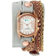 La Mer Collections Women's 'Sunset Chain' Quartz Gold and Leather... ($87) ❤ liked on Polyvore featuring jewelry, watches, leather jewelry, chain wrap watch, gold wrap watch, gold jewelry and la mer watches