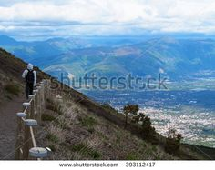 Hiking on Mount Vesuvius - stock photo
