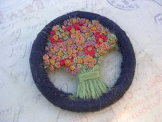 Vintage Handcrafted Embroidered  Flower  Brooch by Foohy on Etsy, $4.95