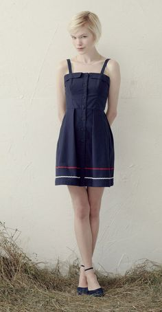 EVELYN Navy: Dress with shoulder straps, fitted waist, pleated skirt, ric rac.  Betina Lou Spring-Summer 2013