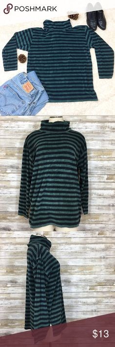 Vintage Grunge Vibes Striped Velour Turtleneck Vintage dark green striped thick velour turtleneck from Carreau Sport. I wasn't going to list this top because it's been well loved but it seriously has some grunge styling potential!  I picture this with a pair of heavily distressed Levi jeans, Doc Martens boots and layered under a vintage band t-shirt. Toss a flannel around your waist and tousle your hair and you are ready to go!  Size Medium. Measurements, material and condition in comments…