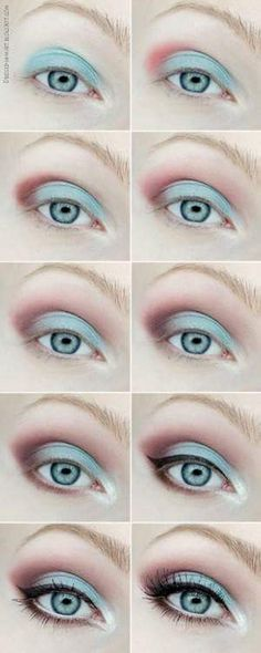 Sky Blue Eyes With Peach And Sea Green Eye Shadow To Slay The Spring Look