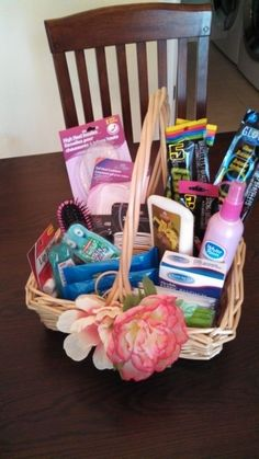 Bathroom basket: use what you need and leave the rest. It may be useful to other guests