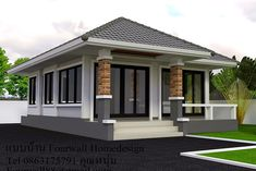 One storey house - This modern onestorey house have all the features that you need [Image Credit 4 BP] House Roof Design, Village House Design, Small House Design, Modern House Design, Modern Bungalow Exterior, Modern Bungalow House, Bungalow House Plans, Small Modern House Plans, Mountain Home Exterior