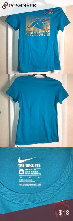 "Nike Carolina Panthers Super Bowl Tee Sz: M NWT Brand: Nike  Size: Women's Medium  Color: Carolina Blue & Gold  Condition: New With Tags  No rips, tears or stains   Measurements:  PTP: 17"" Length: 24.5""   Carolina Panthers Nike Tee  The Nike Tee  Super Bowl 50 A must have for any sports fan!  🏈🎉🏈🎉 Nike Tops Tees - Short Sleeve"