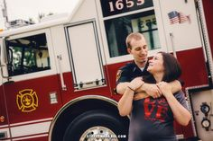 Firefighter Engagement Pictures - Fire Station Engagement Pictures - Fire Truck engagement posing.  Steffen Harris Photography