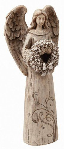 """Wishgivers Angel with Wreath by Outdoor Decor. $12.00. 4""""L x 3""""W x 9""""H. Resin. Wood-Carved Look. Original design by © Creative Crickets. Perfect for that special someone in need of comfort, hope, wisdom or joy, this angel is glorious. She holds a beautifully designed wreath in her hands, as if on her way to deliver it to a dear friend. This angel makes a special holiday touch to ta comfy corner, desk, or bedside."""