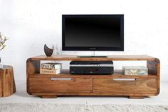 Solid wood curved tv unit with 2 drawers Decor, Wood Furniture Plans, Tv Decor, Living Room Designs, Entertainment Table, Curved Tvs, Interior Design, Solid Wood Furniture, Home Decor