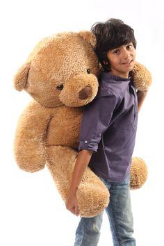 Giant Teddy - Shaggy Cuddles Soft and Huggable Amber Brown Teddy Bear 38in - Giant Teddy